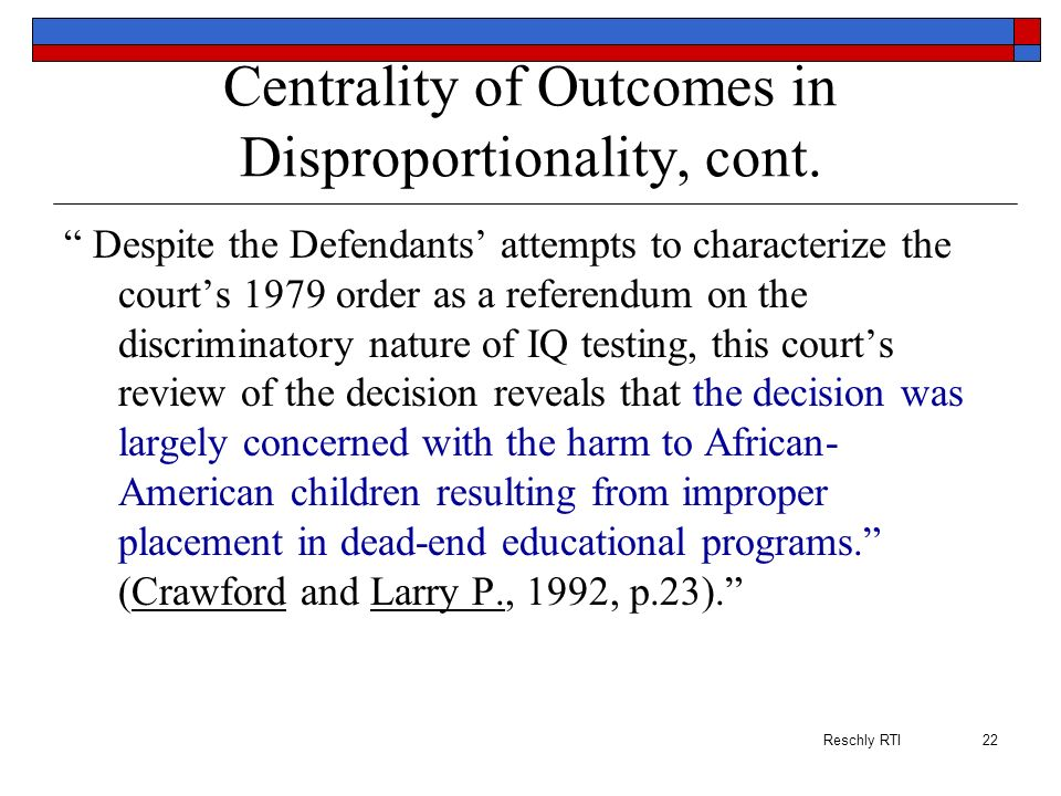 Centrality of Outcomes in Disproportionality, cont.