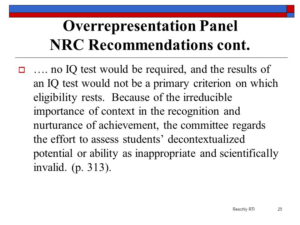 Overrepresentation Panel NRC Recommendations cont.