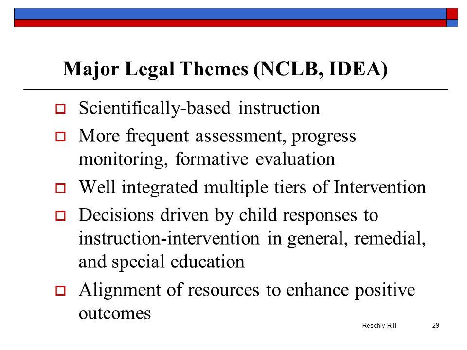 Major Legal Themes (NCLB, IDEA)