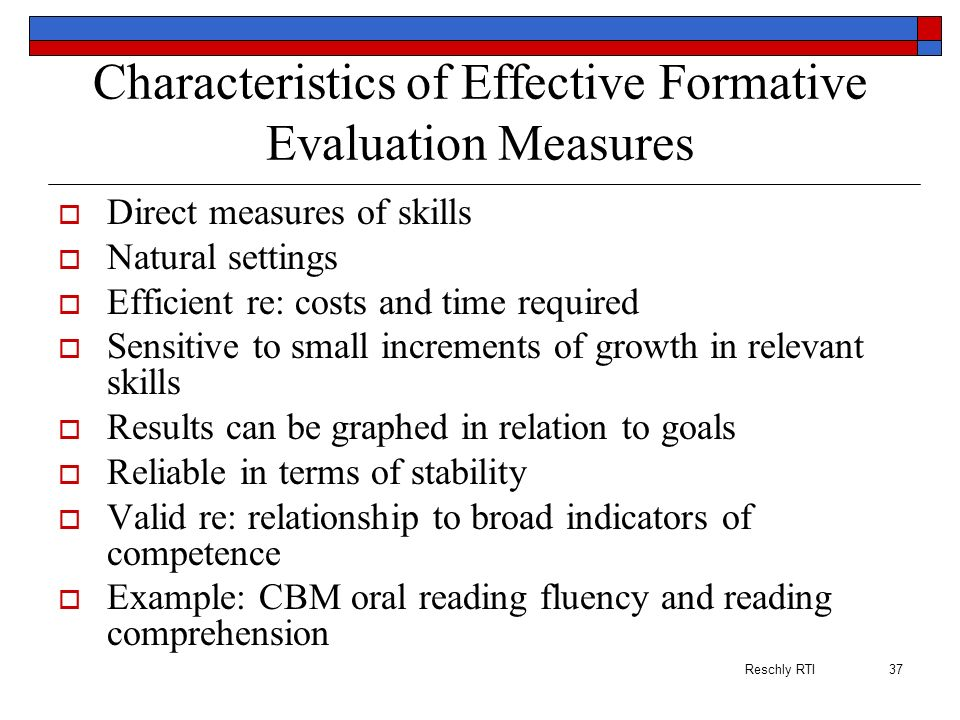 Characteristics of Effective Formative Evaluation Measures