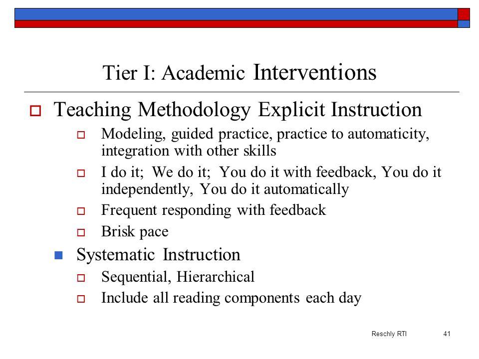Tier I: Academic Interventions