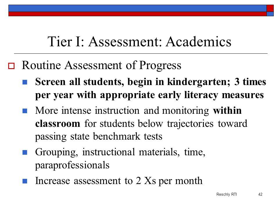 Tier I: Assessment: Academics