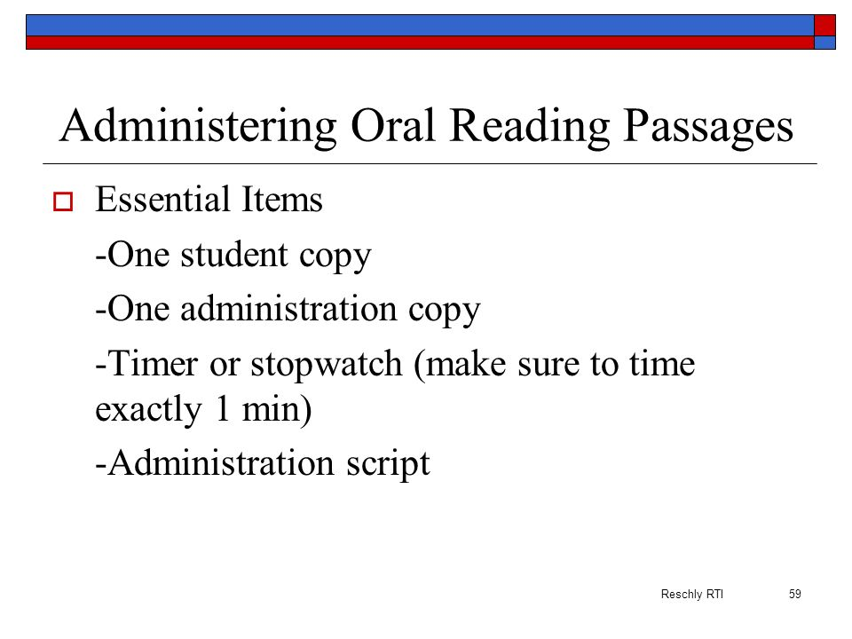 Administering Oral Reading Passages
