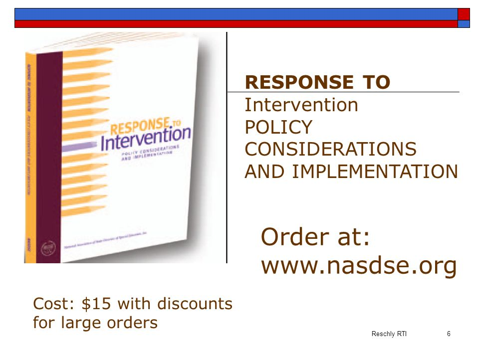 Order at: www.nasdse.org RESPONSE TO Intervention