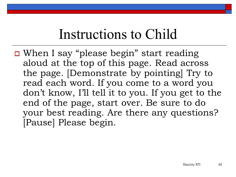 Instructions to Child