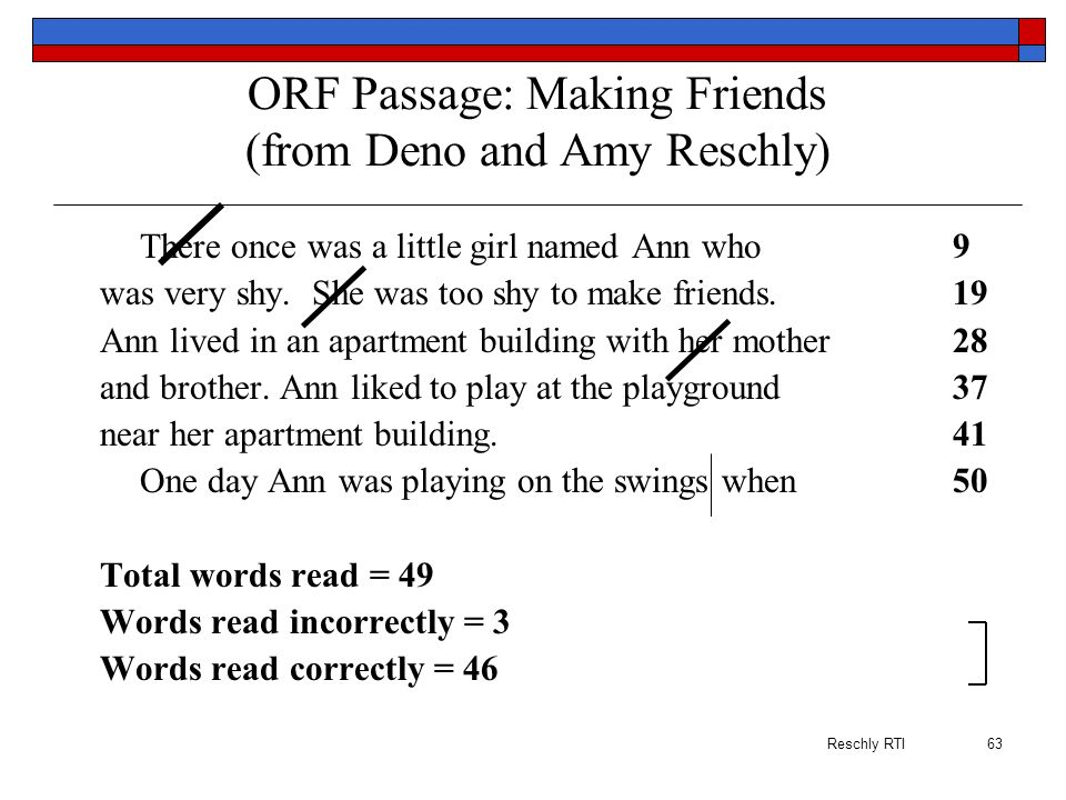 ORF Passage: Making Friends (from Deno and Amy Reschly)