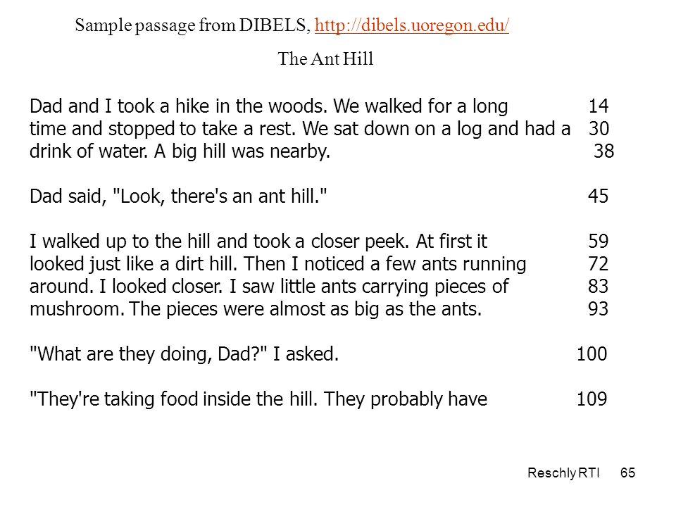 Sample passage from DIBELS, http://dibels.uoregon.edu/