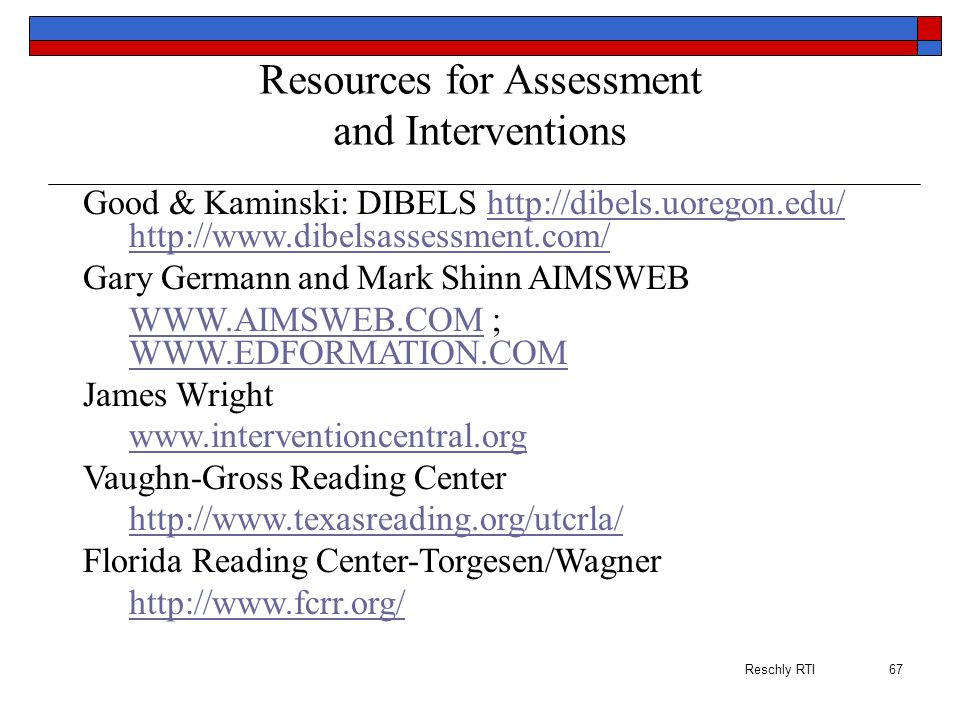Resources for Assessment and Interventions