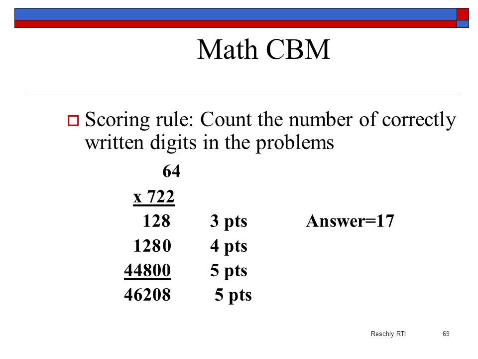 Math CBM Scoring rule: Count the number of correctly written digits in the problems. 64. x 722. 128 3 pts Answer=17.