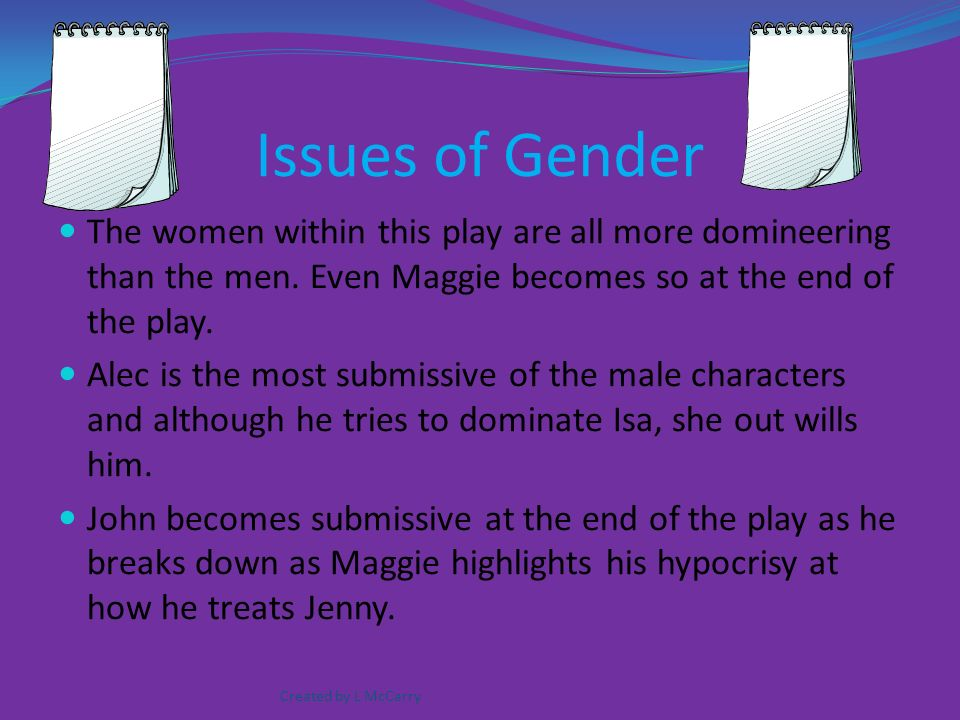 the issues of class and gender in the play of ghosts essay Ritual: an essay  then we begin, we take on our roles  for some games this  is a happy accident, an aside—when we play cluedo we might create  we can  occupy characters that have different genders, social classes, or sexualities than  us we  in its character creation it foregrounds different expressions of gender.