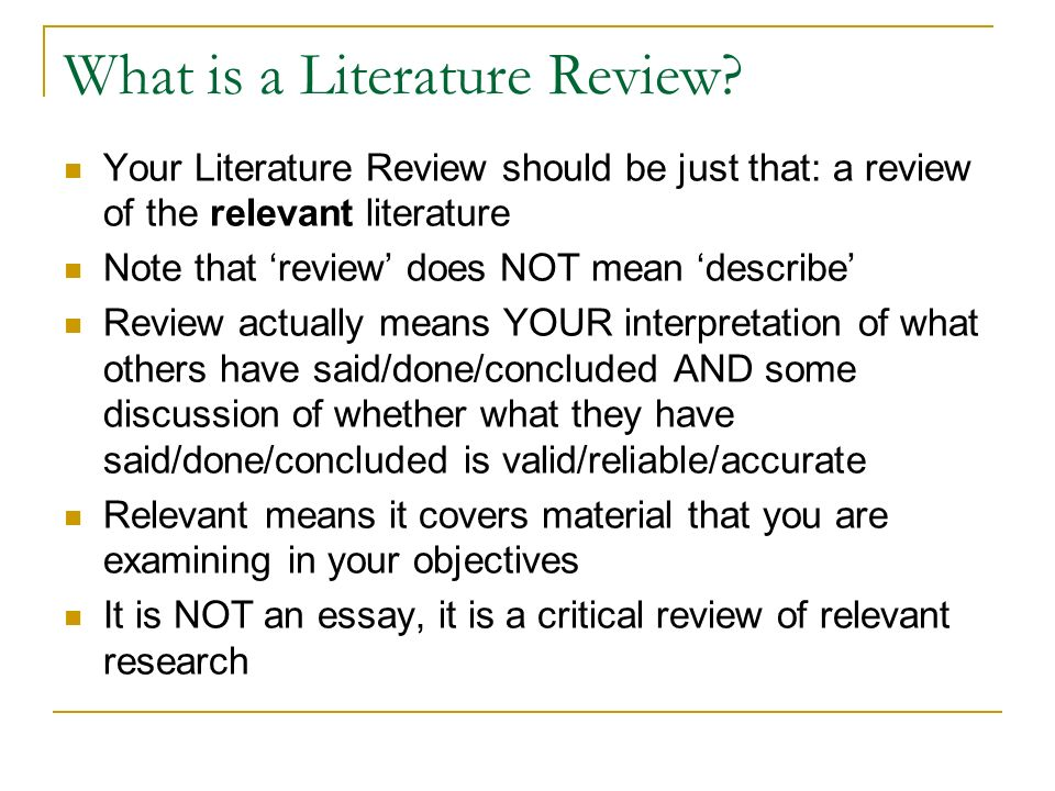 Literature Review: What is a Review of Literature