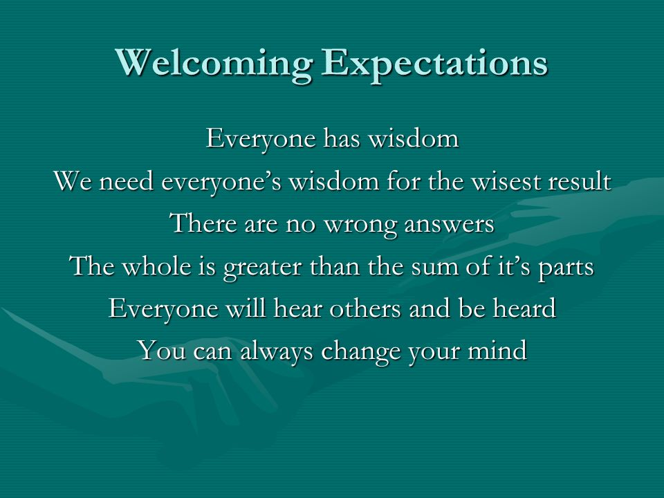 Welcoming Expectations
