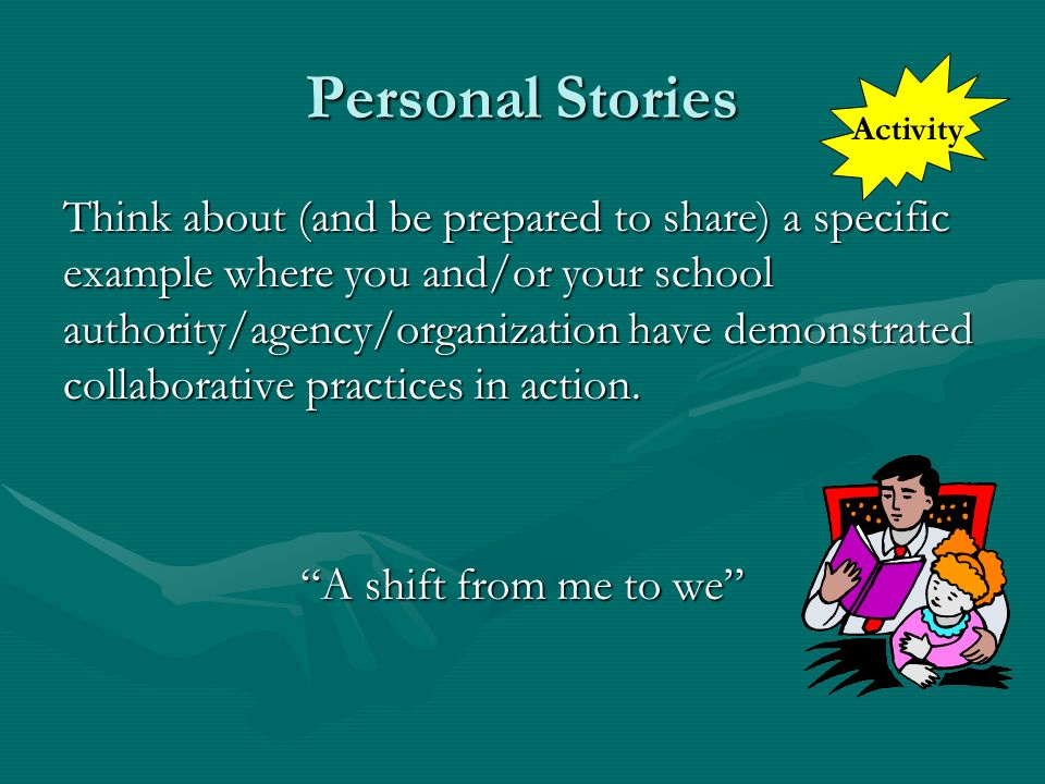 Personal Stories Activity.