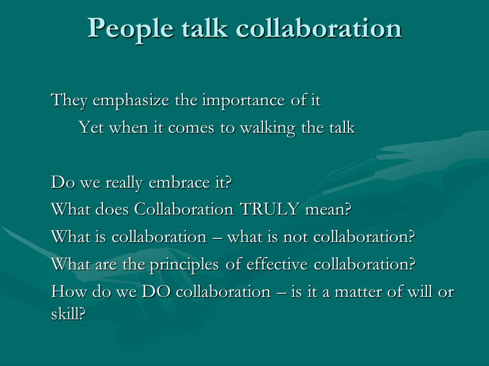 People talk collaboration