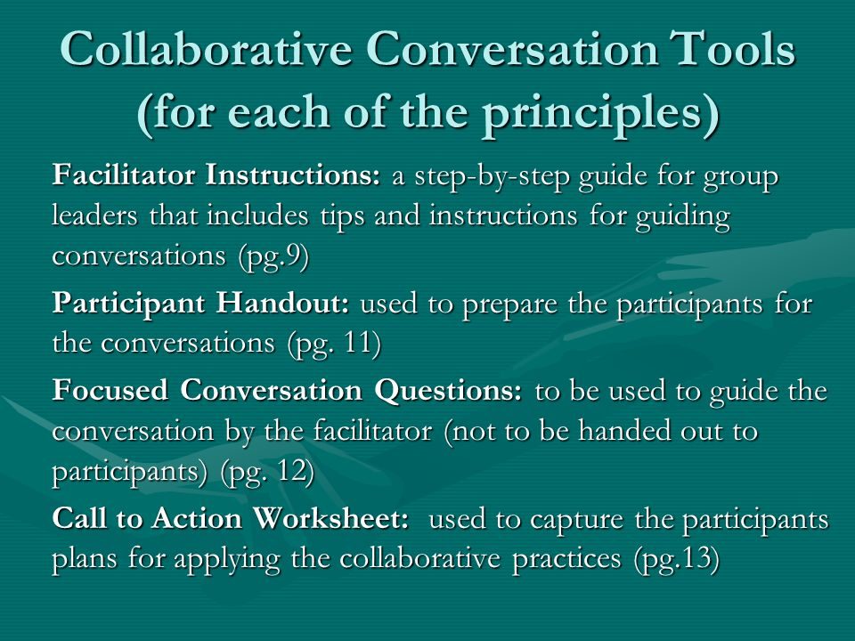 Collaborative Conversation Tools (for each of the principles)