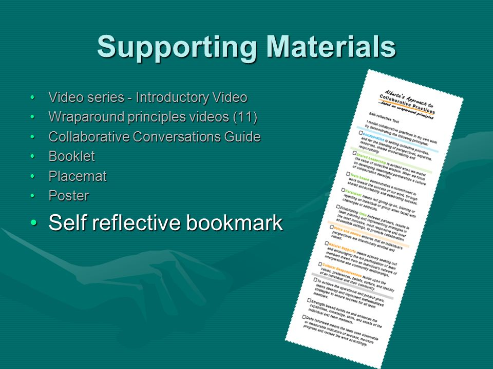 Supporting Materials Self reflective bookmark