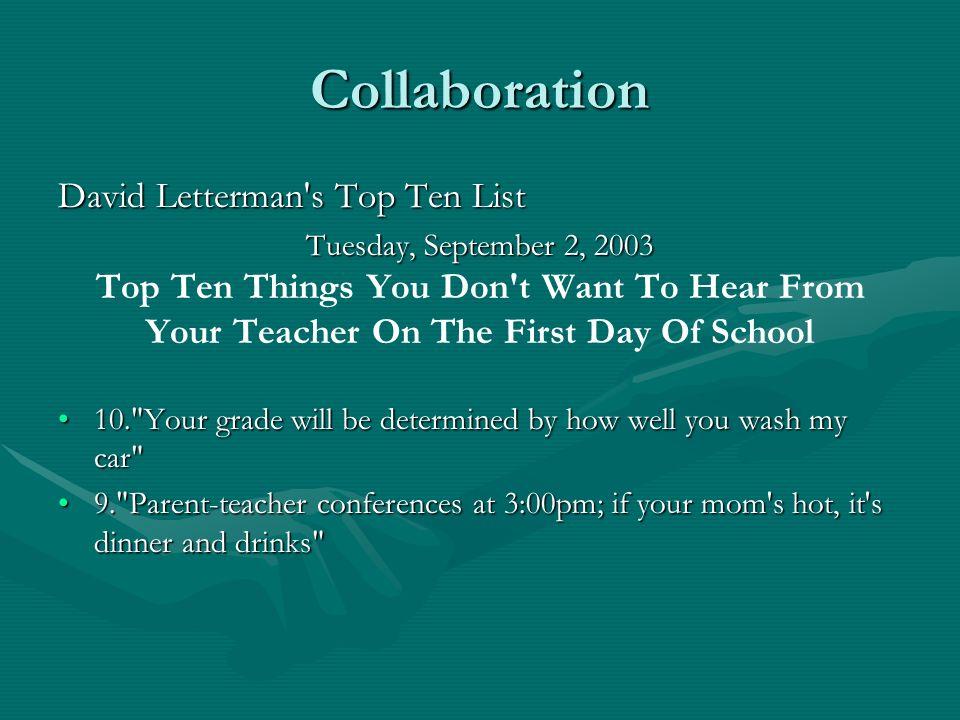 Collaboration David Letterman s Top Ten List