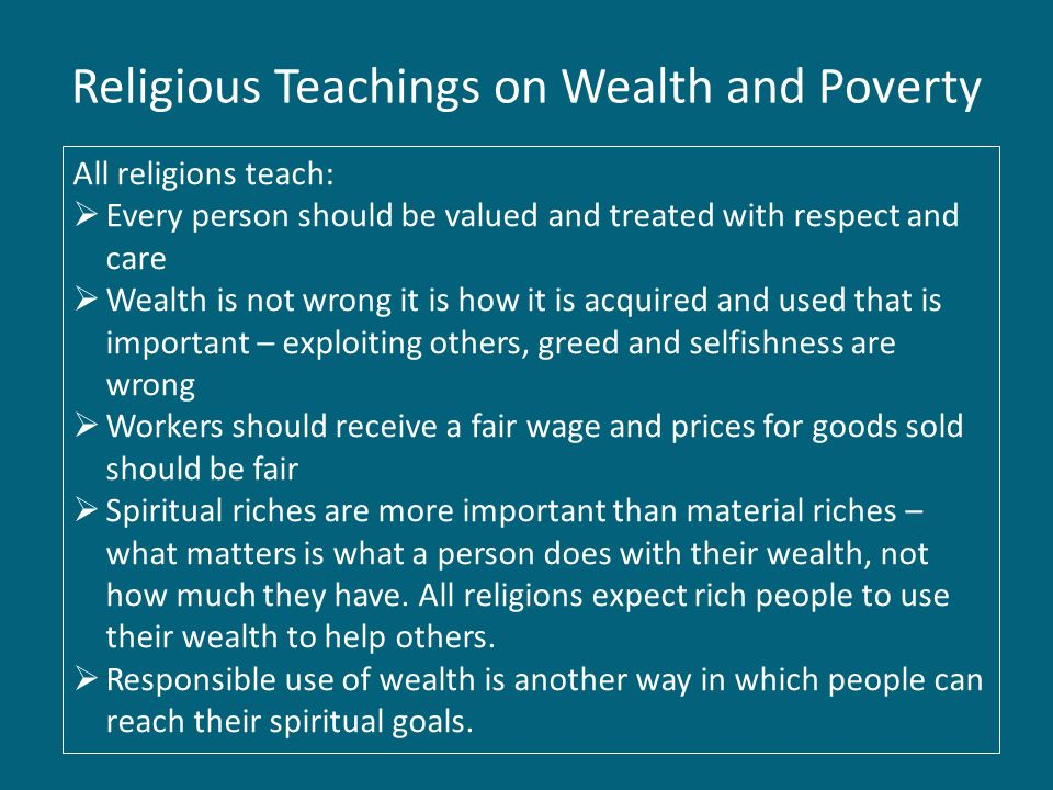 Religion: Wealth and Poverty