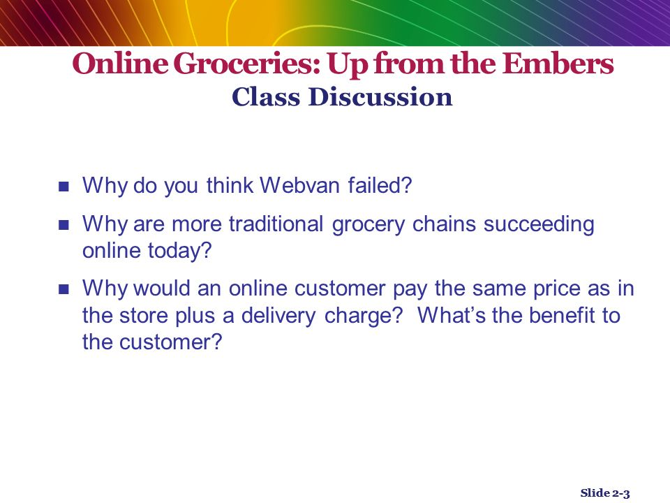 why do you think webvan failed Why do you think webvan failed why are more traditional grocery chains succeeding online today  do you think freshdirect would work in your town  .