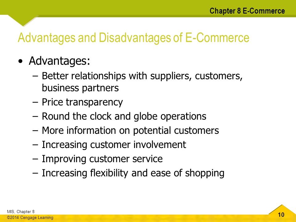 the many advantages of e commerce After studying many aspects of electronic commerce this involves much more than simply discussing the advantages of a company's products and services.