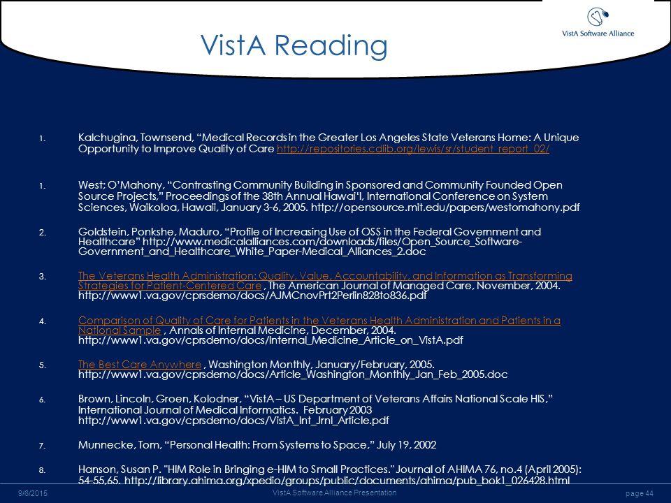 Implementation Of An Ehr Focus On Vista Ppt Download