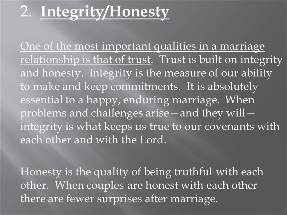 honesty integrity and trust in a relationship