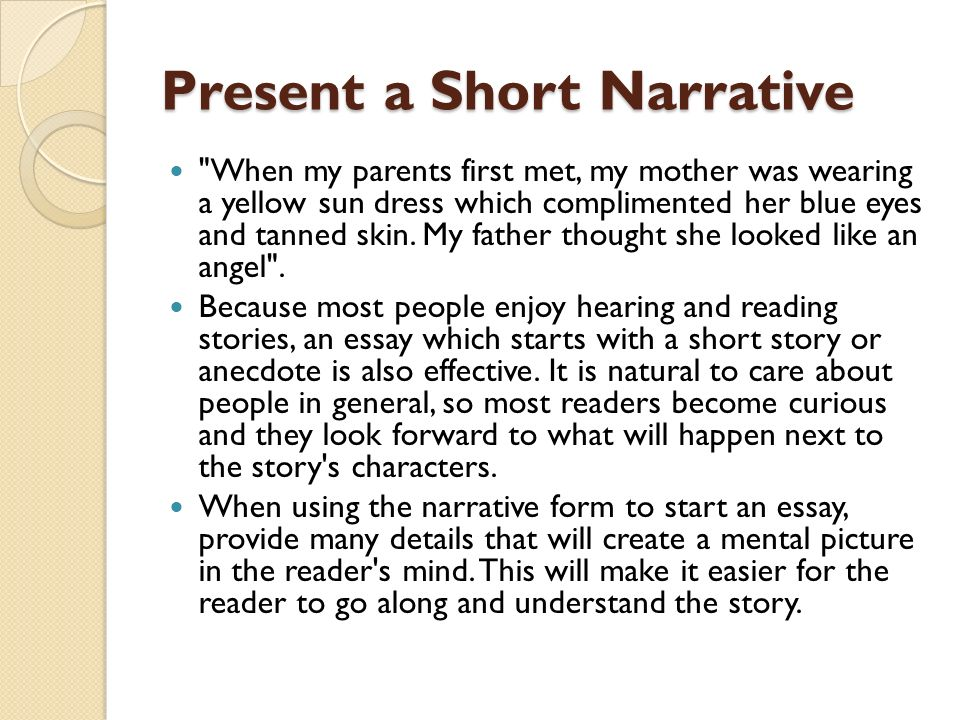 full narrative essays Get help with all your personal narrative essays from a writer who knows all buy narrative essay from a top once the amount has been paid in full.