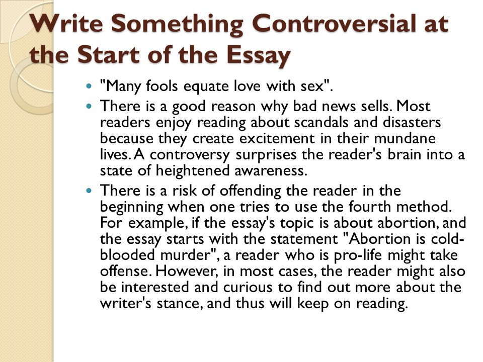 good ways to write an essay When you create an outline, you organize your thoughts about your topic first, write your topic at the top of the page then list all the points or arguments you want to make about the essay topic finally, list the facts, examples and.
