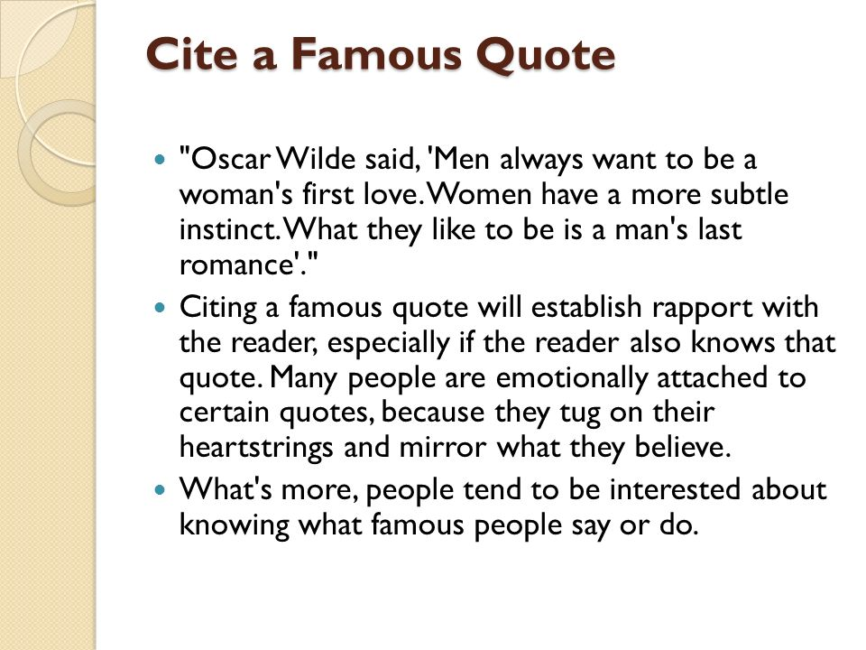 interesting ways to start an essay ppt video online  cite a famous quote