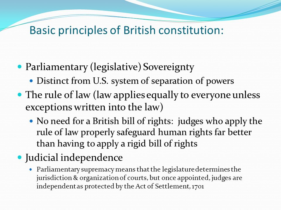 Basic principles of British constitution: