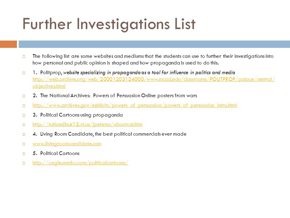 24 Further Investigations List