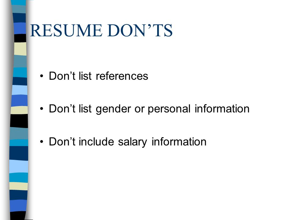 resume donts