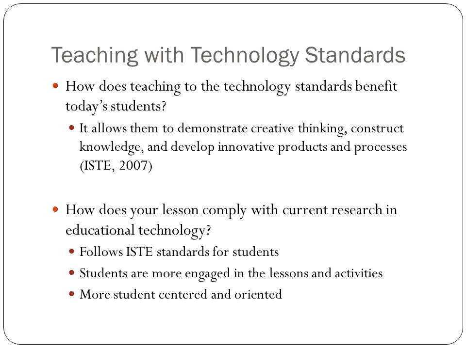 Teaching with Technology Standards