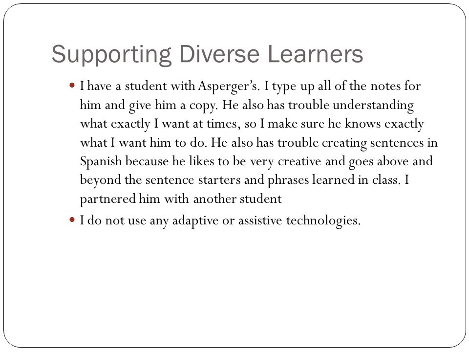 Supporting Diverse Learners