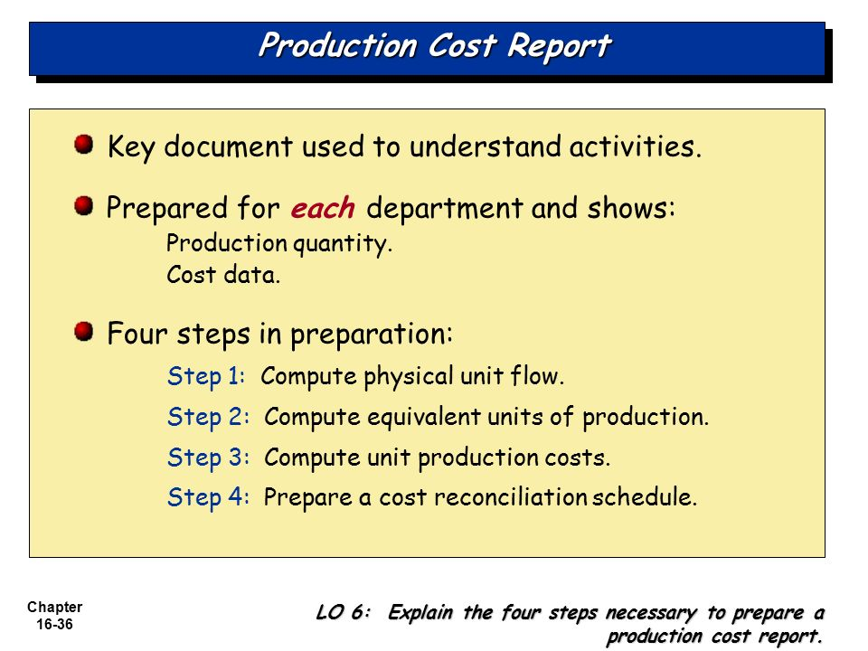 production cost report