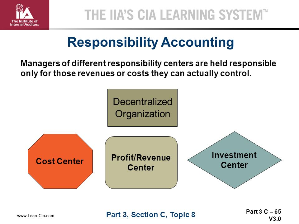 responsibility centers within organizations Responsibility center is broadly defined as any part of an organization whose manager has control over cost, revenue, or investment funds cost centers, profit centers and investment centers are all known as responsibility centers.