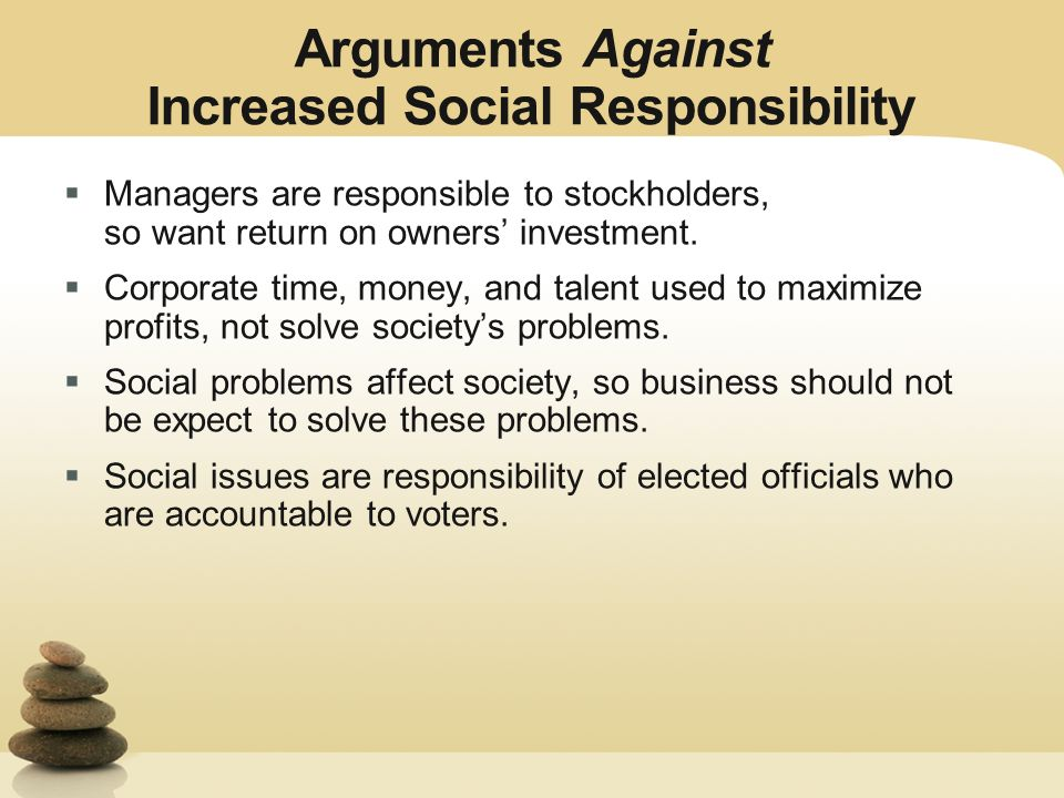 arguments for corporate social responsibility ppt