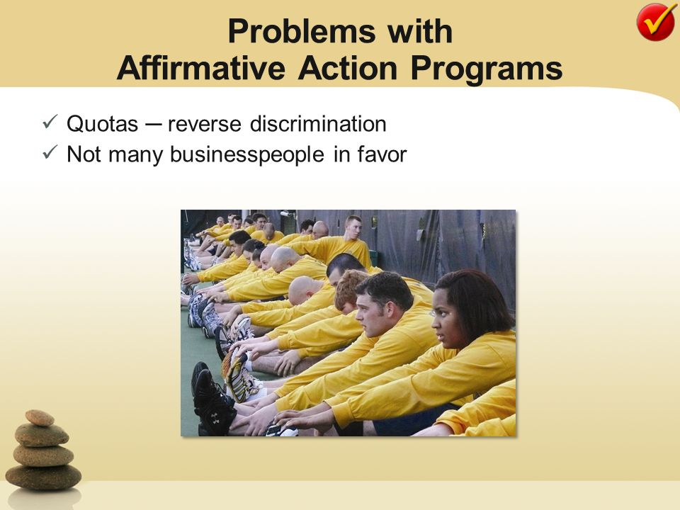 affirmative action programs as a source of reverse discrimination Discrimination and affirmative action  affirmative action programs are justified by the need to counteract the continuing effects of such discrimination against.