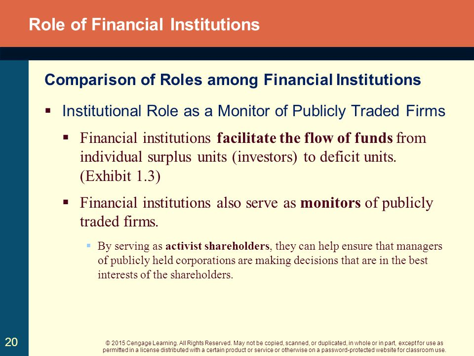 role of financial institutions on inclusive Quick answer the primary role of financial institutions is to provide liquidity to the economy and permit a higher level of economic activity than would otherwise be possible.