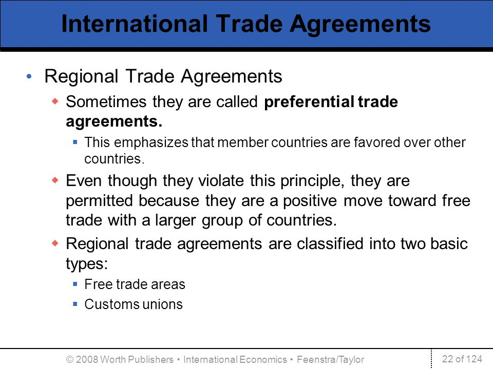 international agreements International trade law is a very complex and an ever expanding area there are basically four levels of international trade relationships: unilateral measures (national law), bilateral relationships (canada-united states free trade agreement), plurilateral agreements1, and multilateral arrangements.