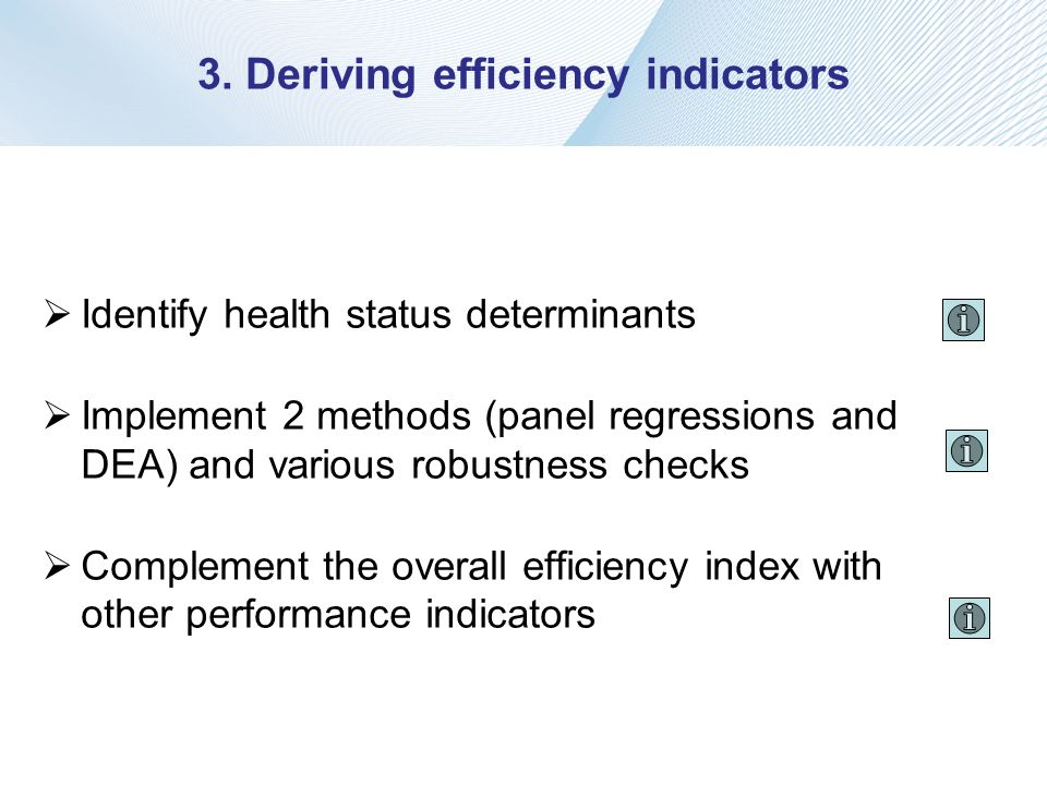 3. Deriving efficiency indicators