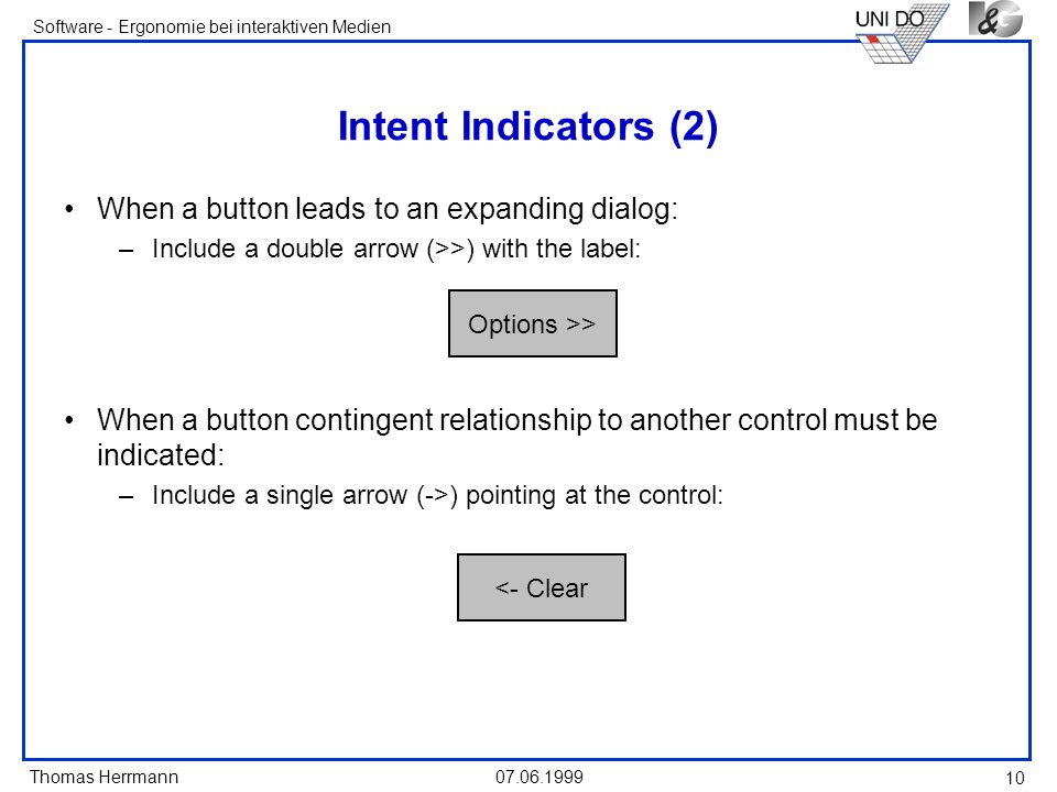 Intent Indicators (2) When a button leads to an expanding dialog: