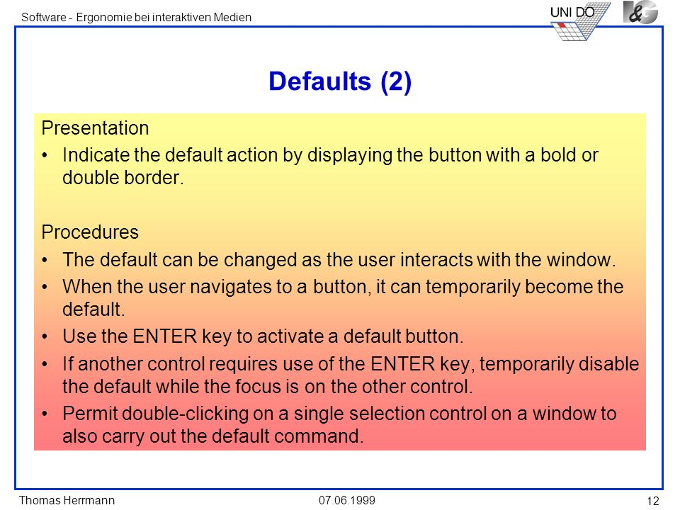 Defaults (2) Presentation