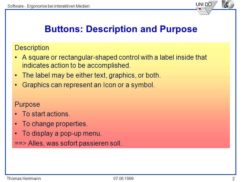 Buttons: Description and Purpose