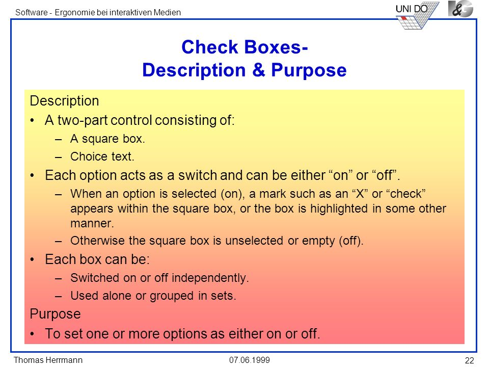 Check Boxes- Description & Purpose