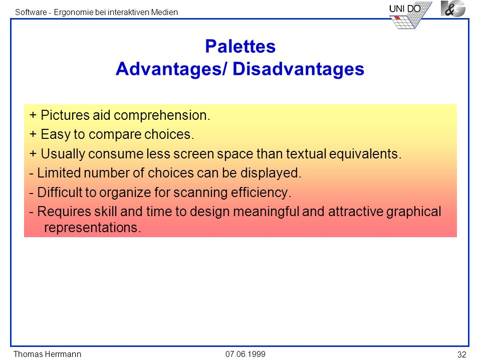Palettes Advantages/ Disadvantages