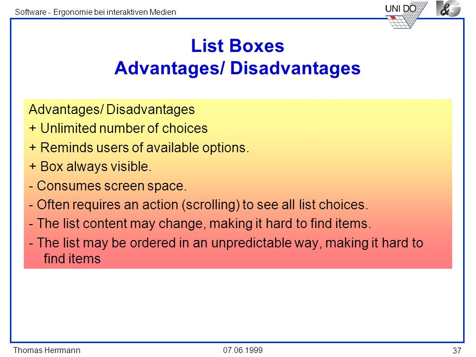 List Boxes Advantages/ Disadvantages