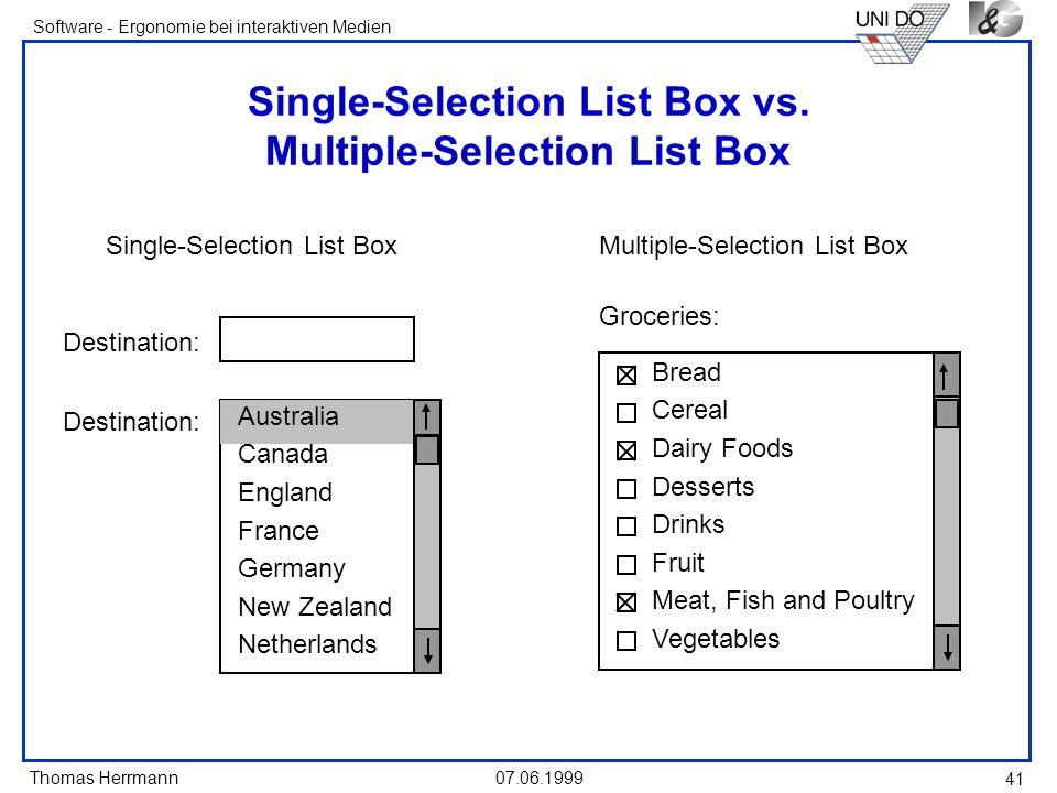 Single-Selection List Box vs. Multiple-Selection List Box