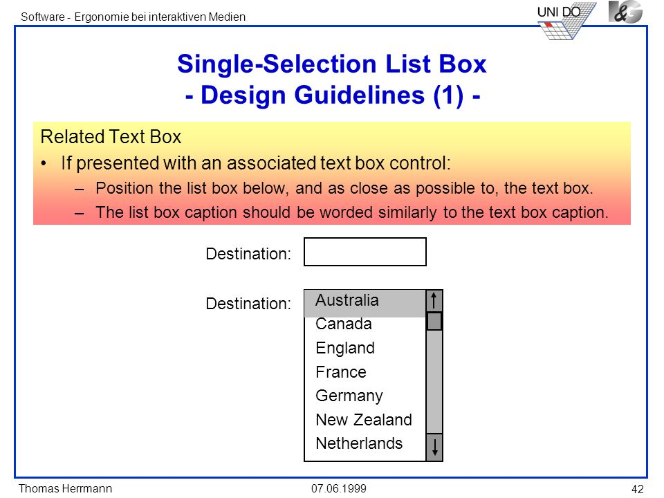 Single-Selection List Box - Design Guidelines (1) -