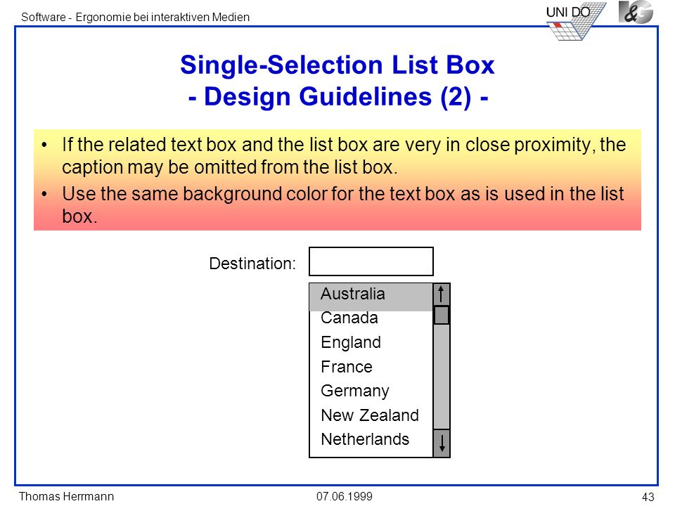 Single-Selection List Box - Design Guidelines (2) -